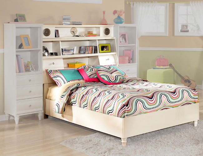 White Youth Full Bookcase Bed With Audio Speakers Bookshelf