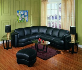 Fabulous Soft Black Leather Sectional Sofa Couch And Ottoman Better Dailytribune Chair Design For Home Dailytribuneorg