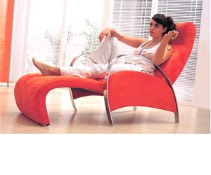 red chaise lounge