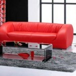 Modern Red Leather Sofa