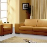 Italian Leather Orange Living Room Set