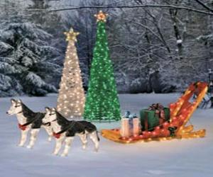 ighted christmas sleigh with huskies