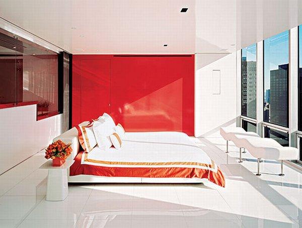 Red Modern Platform Bed