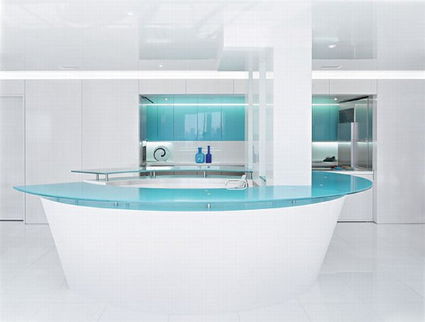 White and Teal Glass Kitchen