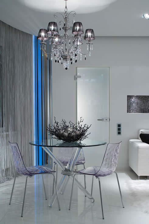 6 Modern Glass Dining Set