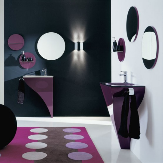Elegant Modern Bath Furniture Modern Purple Bathroom