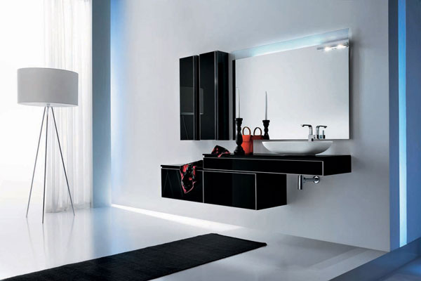 Modern Black Glass Bathroom
