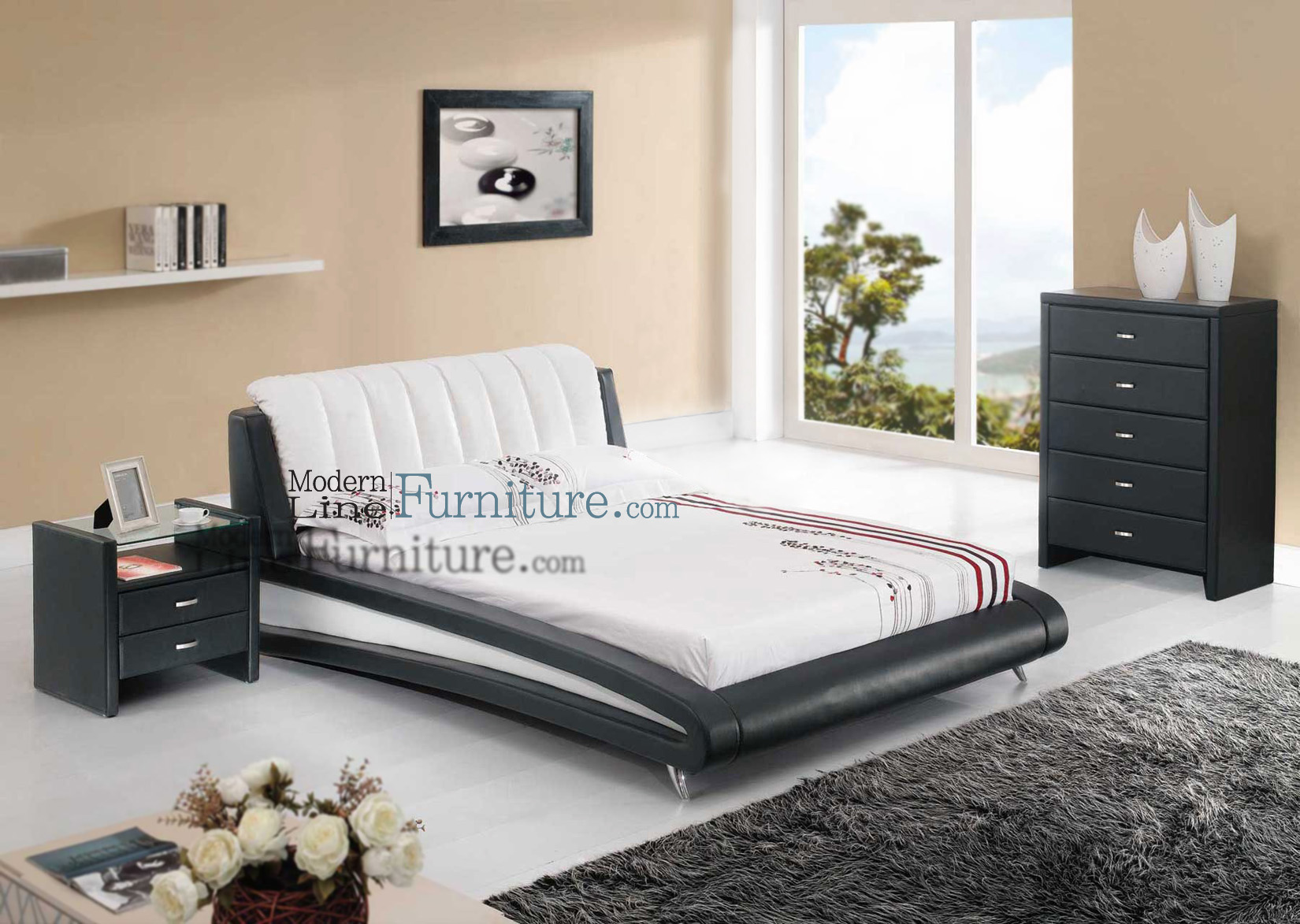 Sleek modern full size bedroom set for Full size bedroom sets