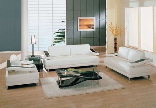 Ultra Modern White Leather Living Room Set Elegant White Leather Sofa Set