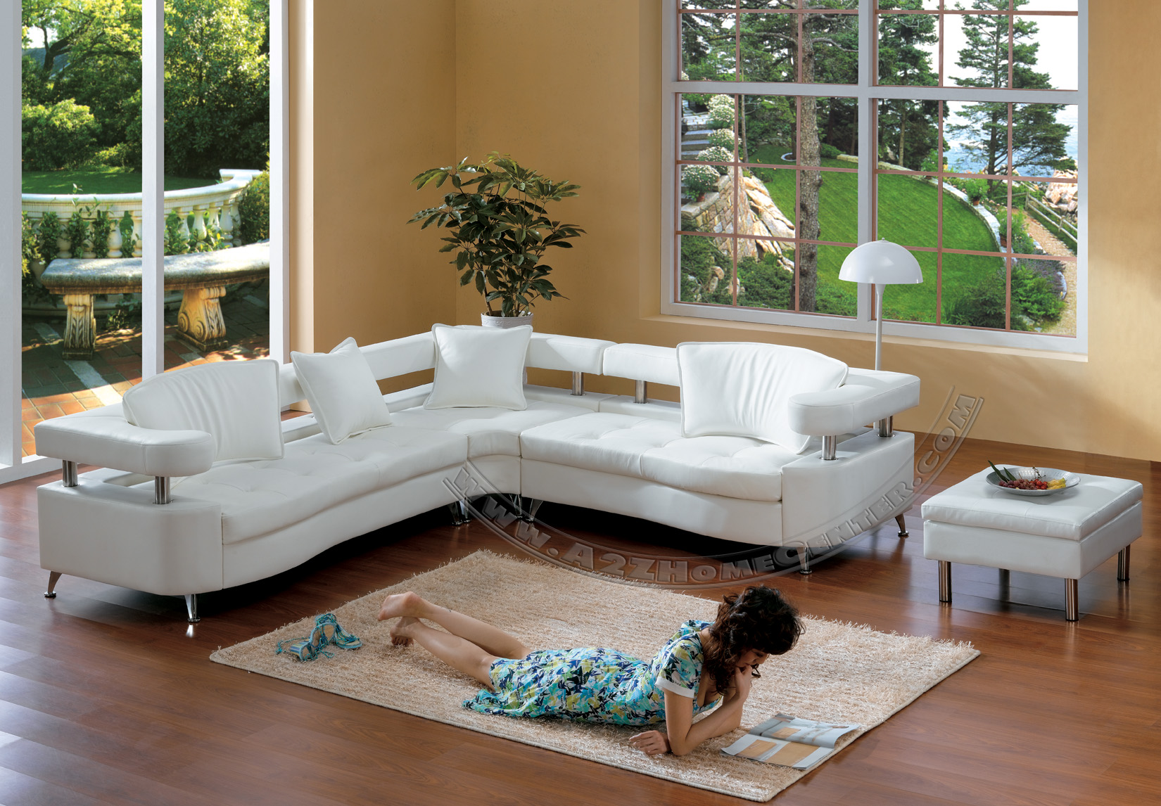 White Leather Modern Sectional Sofa