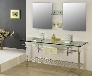 Bathroom Contemporary Double Basin Glass Vanity Set