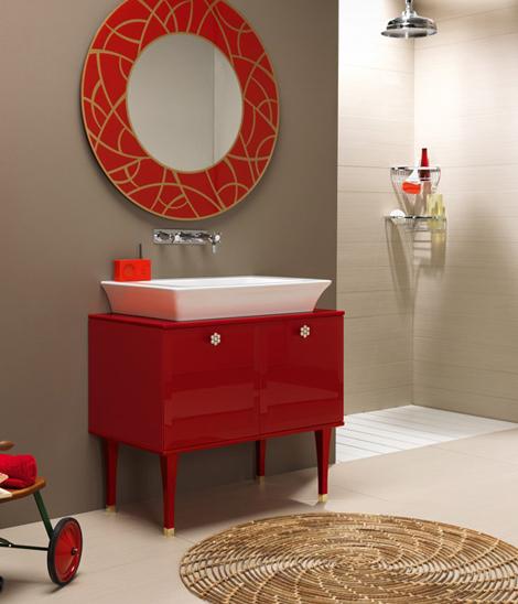 bathroom Vintage Red Bathroom Vanity