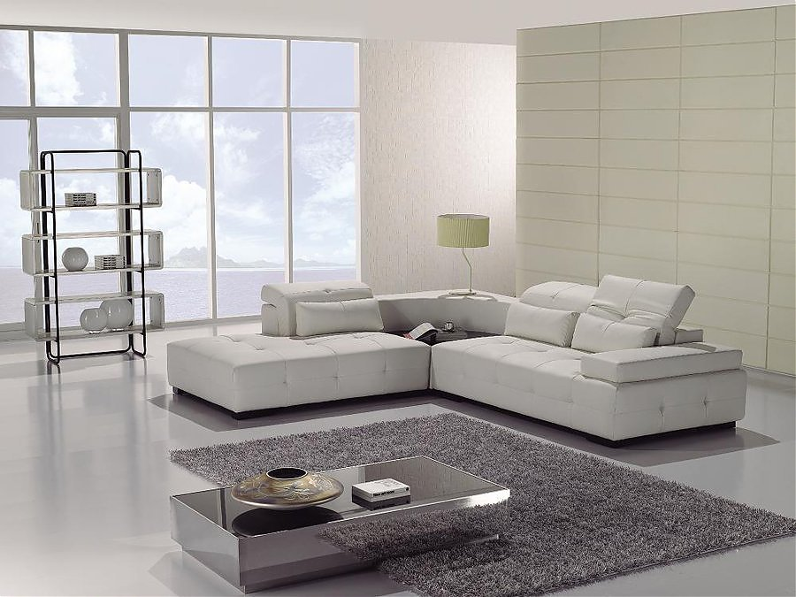 modern sectional Modern White Leather Sectional Sofa