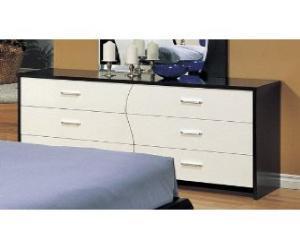 Modern Style White and Dark  Wood Bedroom Dresser