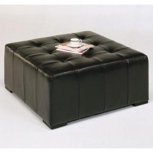 Ottoman in Bycast Brown Leather