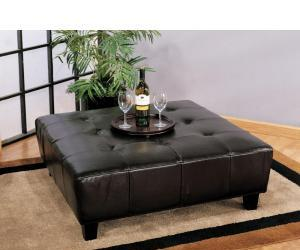 Brown Leather Square Entertainment Ottoman
