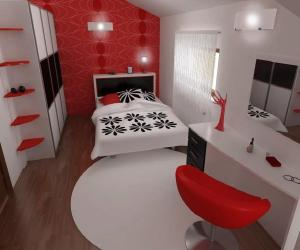 red and white bedroom Red and White Bedroom