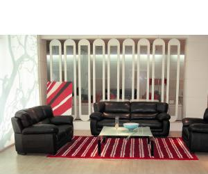London Modern Black Leather Sofa Set