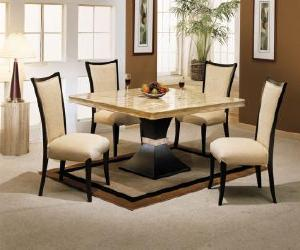square dining table with chocolate travertine Square Dining Table with Chocolate Travertine