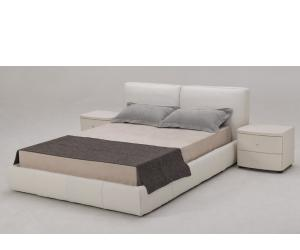 White Full Leather Bed