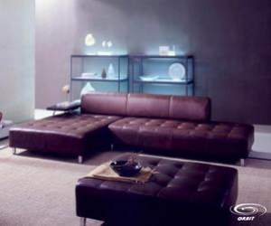 Brown Leather Sectional Set