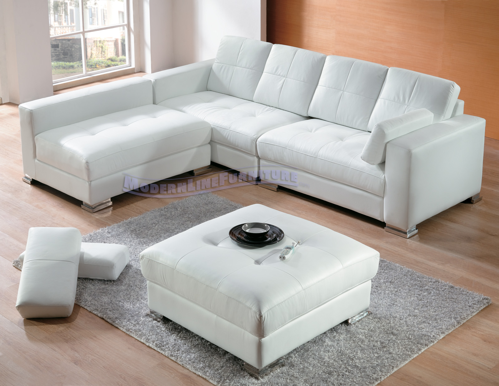 Contemporary White Leather Sectional Sofa