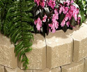 Decorative  Garden with Block Retaining Wall