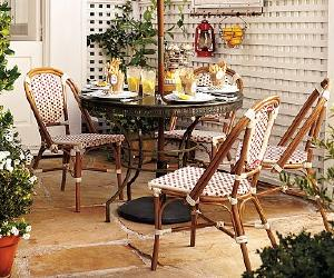 dining set with woven cafe chair Dining Set with Woven Cafe Chair