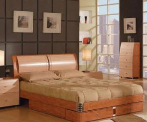 modern maple and cherry finish bed Modern Maple and Cherry Finish Bed
