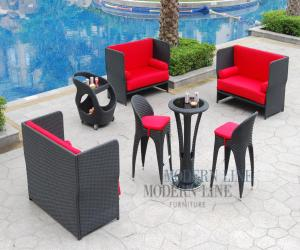 Outdoor Loveseats and Bar Table with Bar Stools