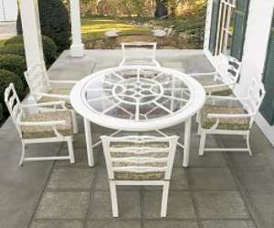 White Outdoor Dining Table and Chairs