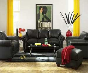 sofa1 Cassidy Black Sofa and Loveseat