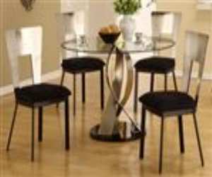 glass dining table set with twisted pedestal base Glass Dining Table Set with Twisted Pedestal Base