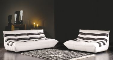 Leather White with Black Sofa Set Leather White with Black Sofa Set