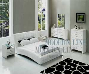 exclusive white eco leather modern bedroom Exclusive White Leather Modern Bedroom