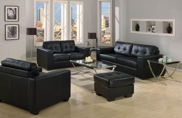 hl222 Lexington Black Sofa and Loveseat