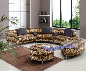 tiger fabric over black leather modern sectional sofa Tiger Fabric Over Black Leather Modern Sectional Sofa