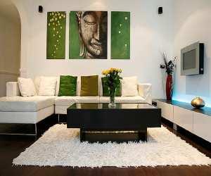 living room Green Modern Living Room
