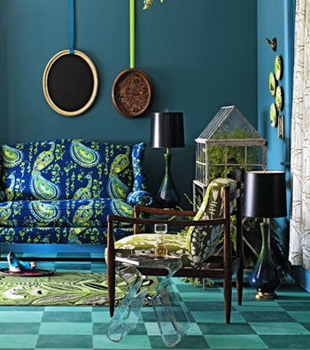 Unique Interior Design In Turquoise Color