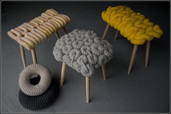 Claire-Anne O'Brien Introduces A Collection Of Knitted Chairs Knitted Stools