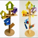 Creative Bookshelf Bird Perch Storage For Children
