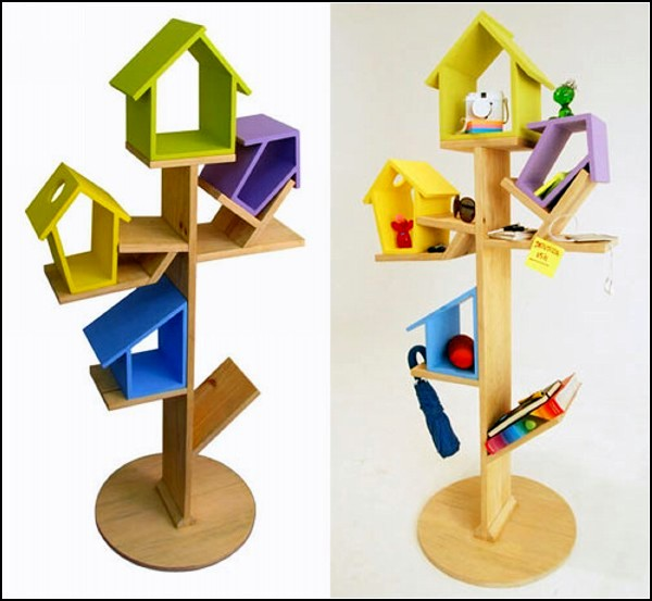 Creative Bookshelf Bird Perch Storage For Children's Room