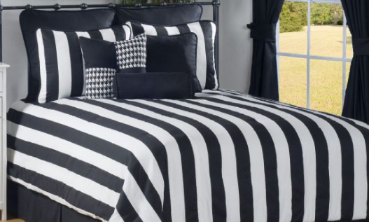 white and black comforter sets Strips in the interior of a bedroom