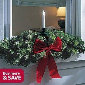 Led Christmas Window Candle And Swag