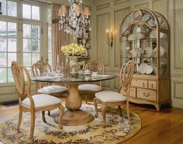 Jessica Mcclintock Home Bisque Round Gl Dining Room